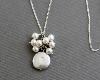 Coin Pearl Cluster Necklace, Sterling Silver Chain Necklace, Pearl Pendant, Carrie Whelan Designs