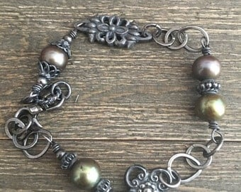 Sterling Silver and Freshwater Pearl Bracelet