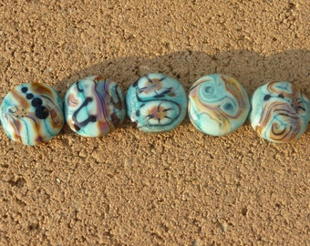 Handmade Lampwork Glass Bead Set, Pressed Button, Turquoise, Southwestern, Organic, Artisan bead, Generationslampwork, SRA