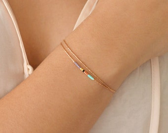 Minimalist Delicate Rose Gold Bracelet with Tiny Beads // Thin Dainty & Colorful Bracelet // Multicolor Boho Friendship Bracelet // BR120