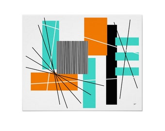 Rectilinear Art Print Modern Abstract in Various Colors & Sizes with Free Shipping