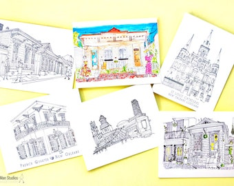 Assorted Illustrated New Orleans Notecards