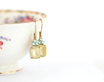 Yellow Rhinestone Earrings - Pastel Earrings - Vintage Jewel Earrings - Feminine Earrings - Yellow  Blue Earrings - Pretty Earrings