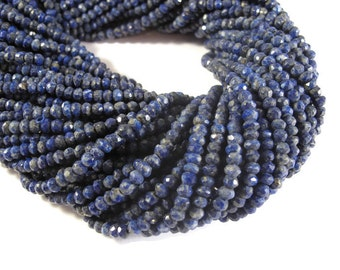 Natural Lapis Beads, Faceted Lapis Lazuli Rondelles, 3mm - 4mm, 13.5 Inch Strand, Tiny Gemstone Rondelles, Jewelry Supplies (R-Lap1)