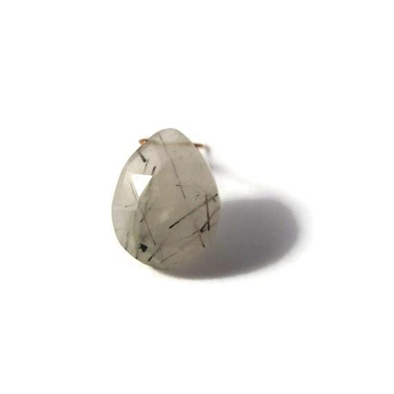 One Gemstone Briolette, Black Rutile Quartz Bead, Large Faceted Pear Shaped Natural Gemstone, 16mm x 12mm (B-Brq5a)
