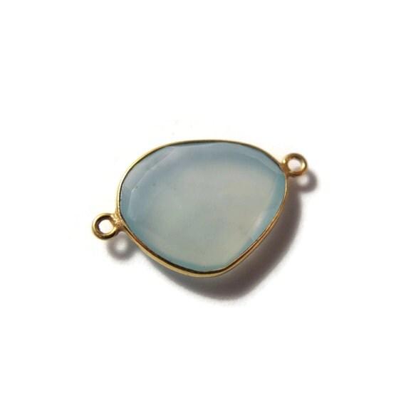One Blue Gemstone Pendant, Light Blue Chalcedony Gemstone Charm, Gold Plated Bezel, 26mm x 16mm (C-Ch1e)