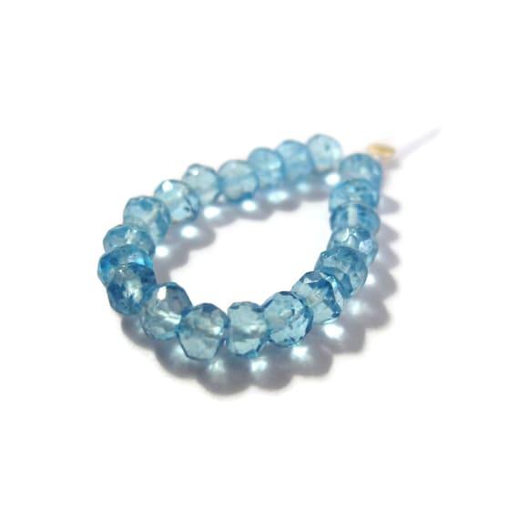 20 Swiss Blue Quartz Rondelles, Faceted Gemstone Beads, Necklace Rondelles, Blue Topaz Substitute, Jewelry Supplies (L-Lb2)