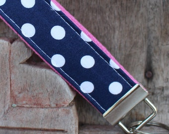 Key Chain-Key Fob-Wristlet- Navy With White Dots On Bubblegum Pink-READY TO SHIP