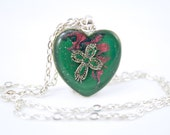 CHD Necklace, Green Heart Necklace, Cross Jewelry, Faith Necklace, Christian Gift, Confirmation Gift, Catholic Present, Faith Based Jewelry