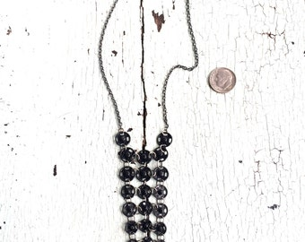 Delicate Black and Silver Chainmaille Necklace