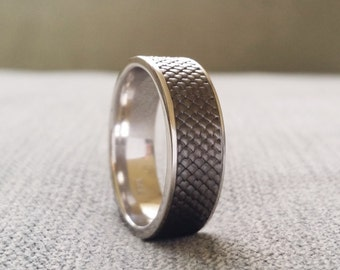 "Black Rhodium over White Gold Rustic Mens Wedding Band Ring Celtic Nordic Snake Skin Dragon Textured Viking 14K White Gold ""The Jabberwocky"""