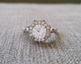 "1 carat Moissanite Forever One Diamond Halo Engagement Ring Antique Flower Estate Octagon Cushion Round 14K White Gold Vintage ""The Elsa"""