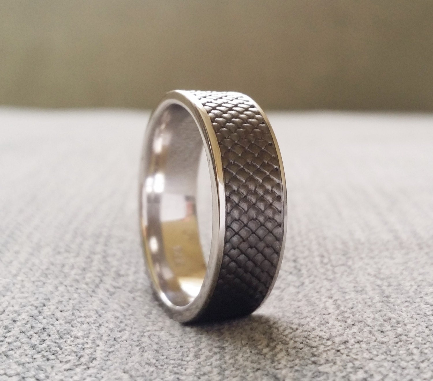 Black Rhodium Over White Gold Rustic Mens Wedding Band Ring
