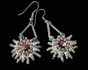 Snowflake Earrings, Star Beaded Earrings, Silver Earrings, Swarovski Rivoli, Seed Bead Earrings, Crystal Earrings, Bridal Earrings,