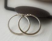 One Inch Hoop Earrings - Sterling Silver Hoop Earrings - Plain Hoops - Click Latch Earrings