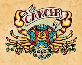 Old School Tattoo Zodiac Art CANCER Crab Astrology Print 5 x 7, 8 x 10 or 11 x 14