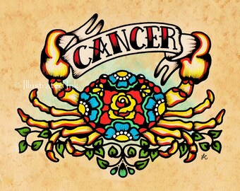 CANCER Zodiac Print Tattoo Art Crab Astrology Sign 5 x 7, 8 x 10 or 11 x 14