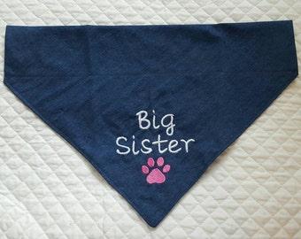 Big Sister Dog Bandana, Over Collar,Denim Dog Bandana, Pet Supplies, Pet Accessories, Pet Clothing, Pets,New Baby Announcement, Pet Neckwear
