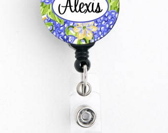 Retractable ID Badge Holder - Personalized Name - Hydrangea Purple and Yellow - Choice of Badge Reel, Carabiner, Lanyard, Steth Tag