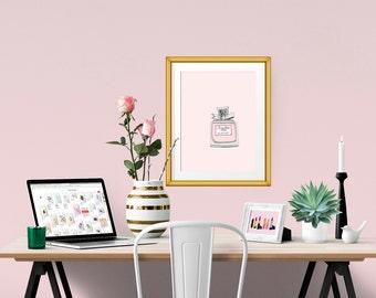 Miss Dior Cherie Perfume Fashion Illustration Art Poster