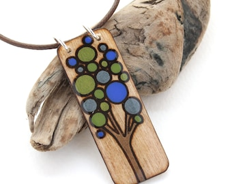 Rectangle Wood Tree Pendant, Everyday Simple Necklace, Blue, Green, Brown, Tree Jewelry, Wood Burned Jewelry, Tree of Life, Made in Canada