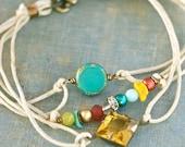 Colorful boho wrap string bracelet. Tiedupmemories