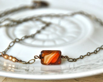 Simple glass bead necklace/ layering necklace / fall jewelry / geometrical necklace/boho jewelry. Tiedupmemories