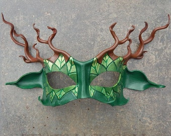 Stag Lord Leather Mask In Green And Brown - Cernunnos, Greenman