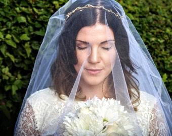cathedral wedding veil with blusher - wedding flower crown veil - veil crown  - bridal veil flower crown - woodland wedding veil - boho veil