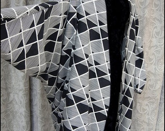 Art Deco Bauhaus - One of a Kind Batwing Kimono Robe by Kambriel made from pre-washed Vintage cotton - Ready to Ship!