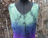 Purple and green tie dye long maxi festival hippie rayon India dress embroidered