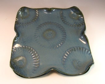 Handmade Pottery Appetizer/ Serving Platter in Royal Blue