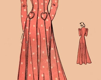 RARE 1930s House Dress w/ Princess Seams, Long Puff Sleeves, Heart Pockets Advance 9711 Vintage 30s Sewing Pattern Size 14 B 32