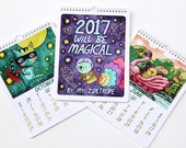 2017 Calendar  8x10 Illustrated Art Wall Calendar