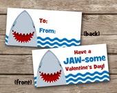 INSTANT DOWNLOAD - Valentine Treat Bag Topper - Shark - Fish - Printable Digital File - Design 7