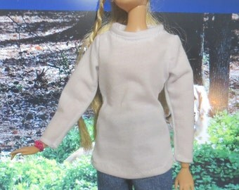 Barbie Clothes, Handmade Barbie Clothes, Doll Clothes, White T-shirt, denim pants