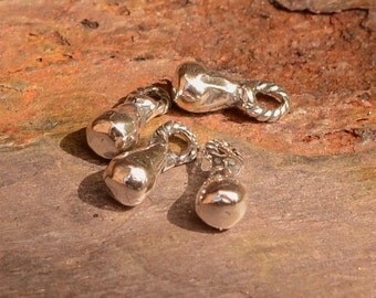 Four Tiny Teardrops in Sterling Silver, Artisan Itty Bitty Teardrops, CH-563