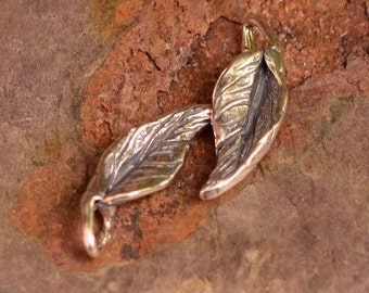Two Leaf Charms Sterling Silver, Artisan Small Leaves, CH-577, S/2