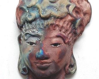 Buddha Kwan Yin Face Mask Wall Art in Raku Ceramics