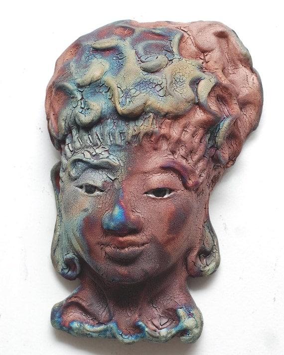 Buddha Kwan Yin Face Mask Wall Art in Raku by GoldenWindRaku
