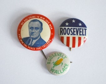 Political Campaign Buttons, Franklin Roosevelt Pins, 1940s U.S. President Souvenirs, Political Race, World War II, Metal Pinback Collection
