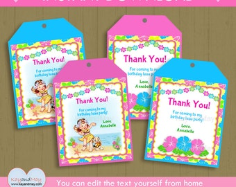 Luau Party Thank You Tags / INSTANT DOWNLOAD hula girl favor tags / Hawaiian theme printable tags  #P-22-tags - you can edit text from home