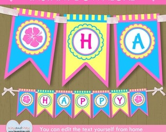 Luau birthday banner / INSTANT DOWNLOAD Luau party banner / luau Happy Birthday banner #P-22 - with editable text you can personalize PDF