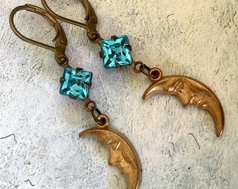 Moon and Stars Earrings celestial vintage style jewelry magical earrings dangling drop earrings blue and gold