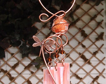 Dragonfly Windchime Glass Wind Chimes Copper Garden Lawn Yard Art Sculpture Stained Glass Ornament Metal