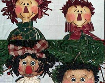 Raggedy Ornaments Sewing Pattern, Primitive Ornies Sewing Pattern, Downloadable Sewing Pattern, Christmas Ornies E-Pattern, Bag Ornies I