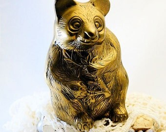 Vintage Brass Bear,Panda Bear Figurine,Brass Home Decor