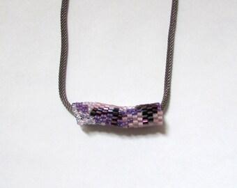 Purple Freeform Pendant - Orchid Peyote Tube - Purple Slide Necklace - Purple and Orchid Necklace - Beaded Freeform Peyote Necklace