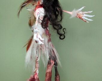 OOAK Horror Tribal Demon Skull Woman Sculpture by Quequinox Art