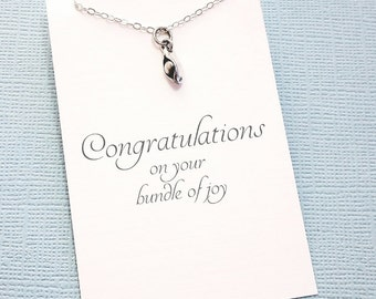 New Mom Gift   Pea Pod Necklace   New Baby   Pea Pod Jewelry   Pea Pod Charm   Pea in the Pod   Pea Pod Charm   Silver or Gold   M16